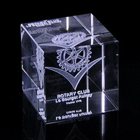 cube crystal paperweight company logo engraved inside