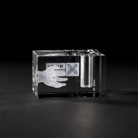 logo etched crystal pen holder 50x50x80mm