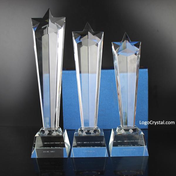 Medalha de cristal de estrela de moda gravada com 3 tamanhos para o aniversário do prêmio de evento