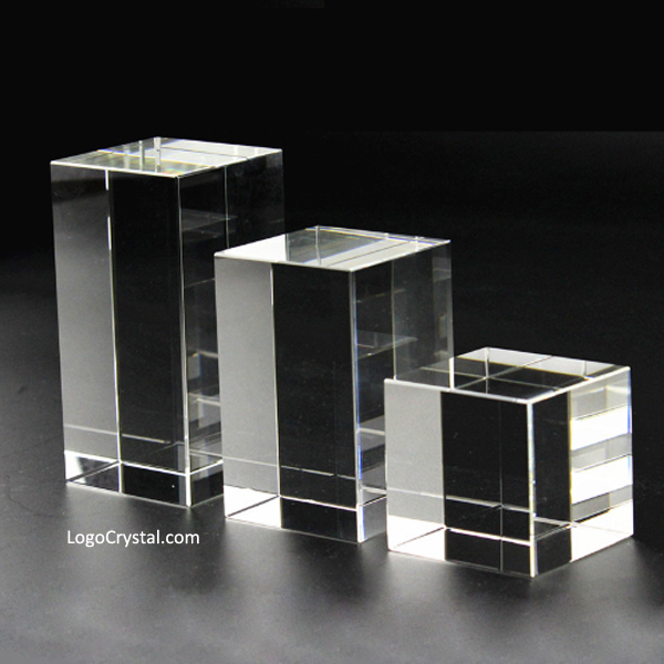"50mm (2 inches) Cubic Crystal Blank, 50x50x80mm (3"") Rectangular K9 Crystal Block, 50x50x100mm (4"") Rectangular Optical Glass Blank"