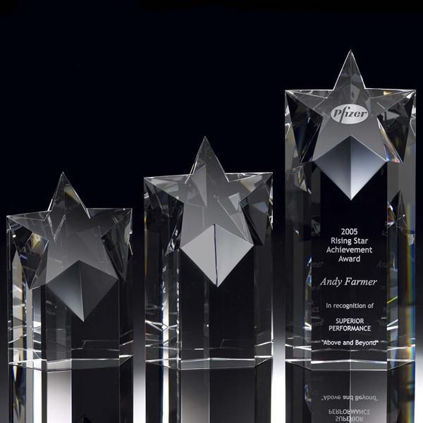 Troféu de prêmio de cristal pentágono qualidade superior com logotipo corporativo e slogan