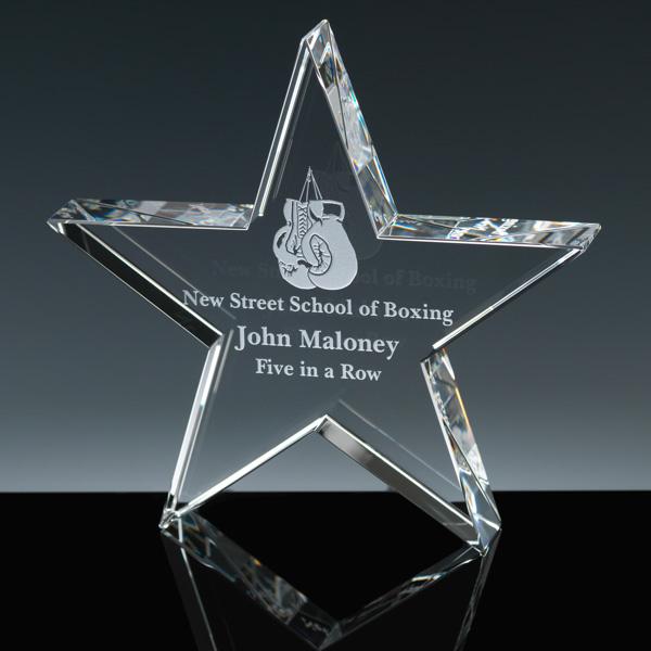 Cinco Paperweight de cristal aguçado da estrela com gravura personalizada do laser