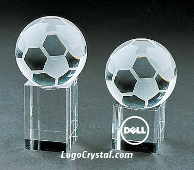 crystal glass soccer award with 3d laser ecthed company logo